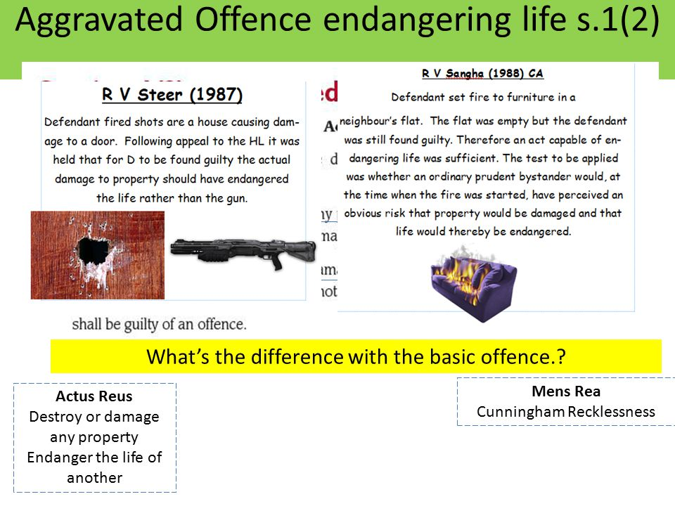 Aggravated Offence endangering life s.1(2)