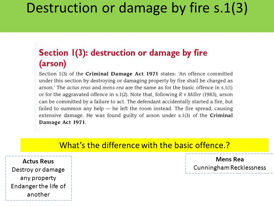 Destruction or damage by fire s.1(3)