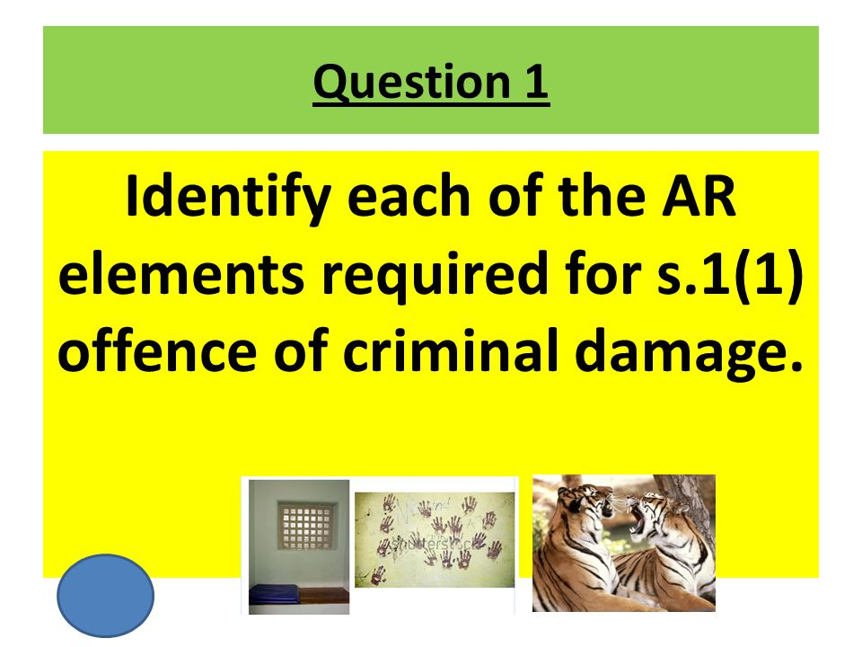 Question 1 Identify each of the AR elements required for s.1(1) offence of criminal damage.