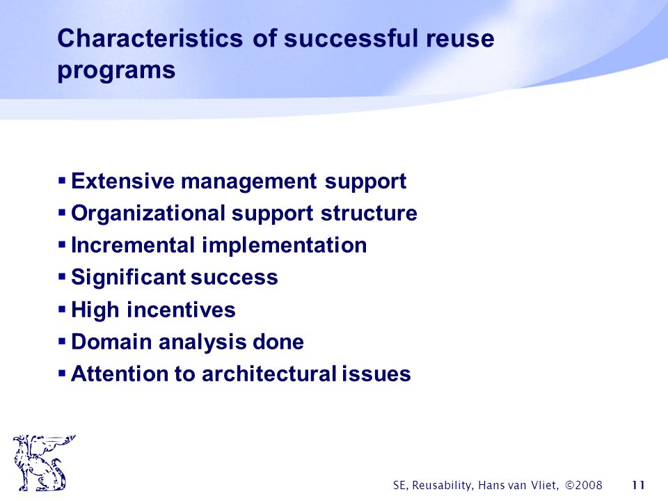 Characteristics of successful reuse programs