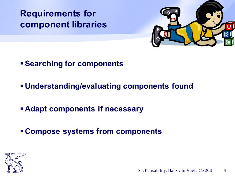 Requirements for component libraries