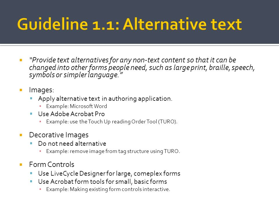 Guideline 1.1: Alternative text