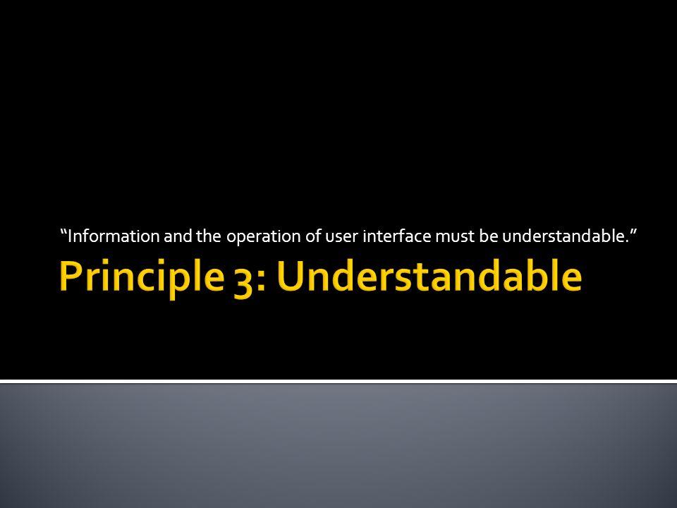 Principle 3: Understandable