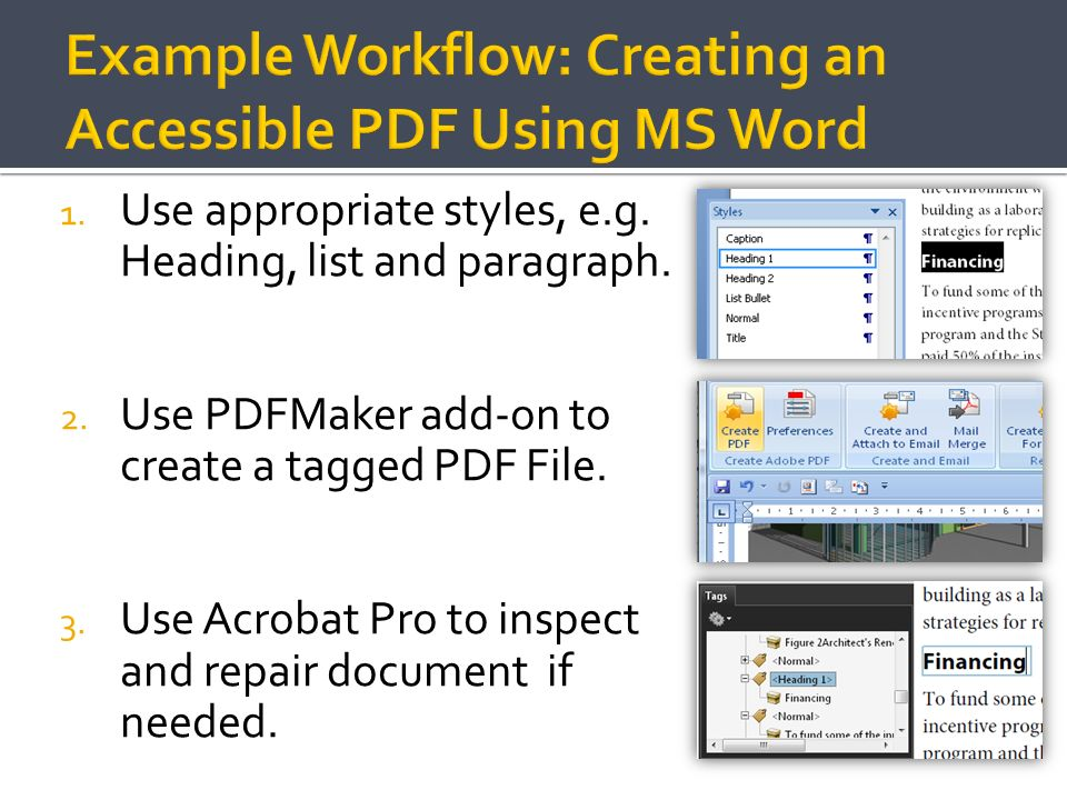Example Workflow: Creating an Accessible PDF Using MS Word