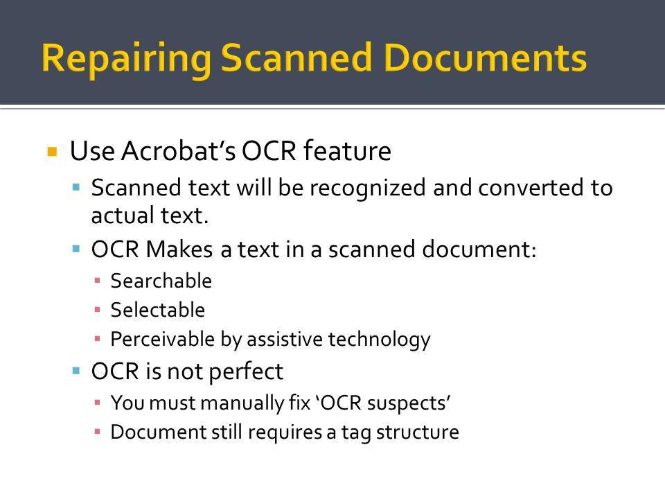 Repairing Scanned Documents