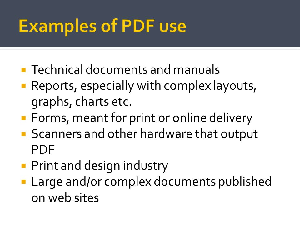 Examples of PDF use Technical documents and manuals