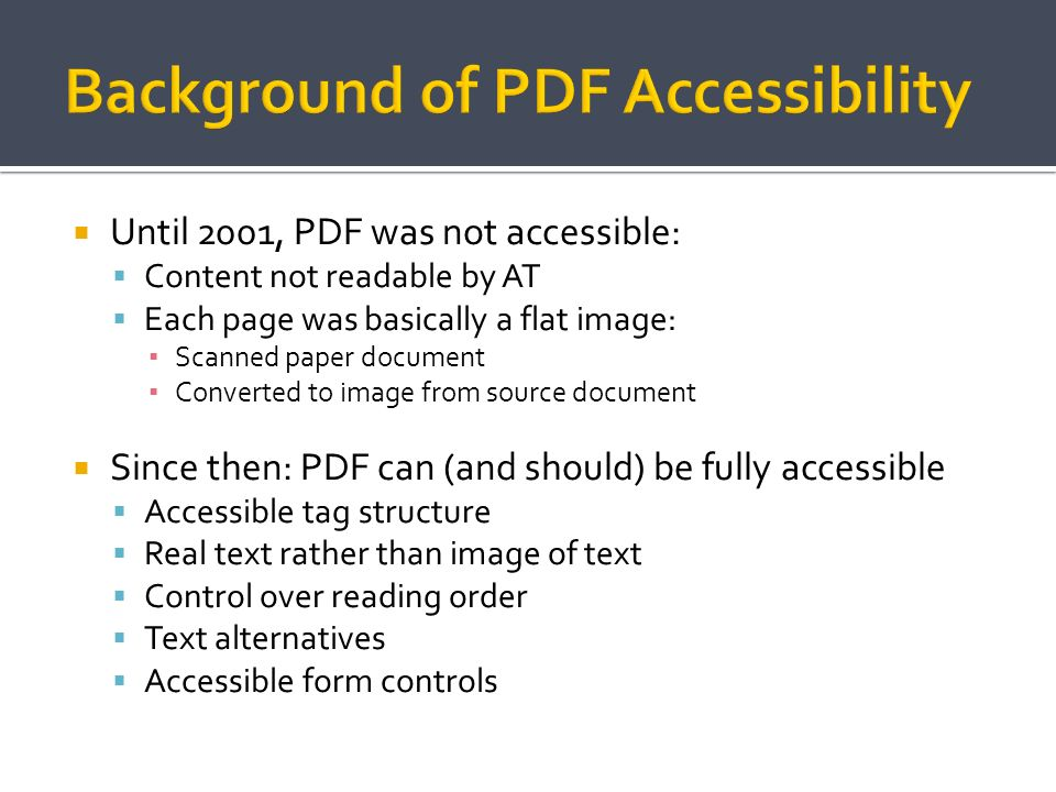 Background of PDF Accessibility