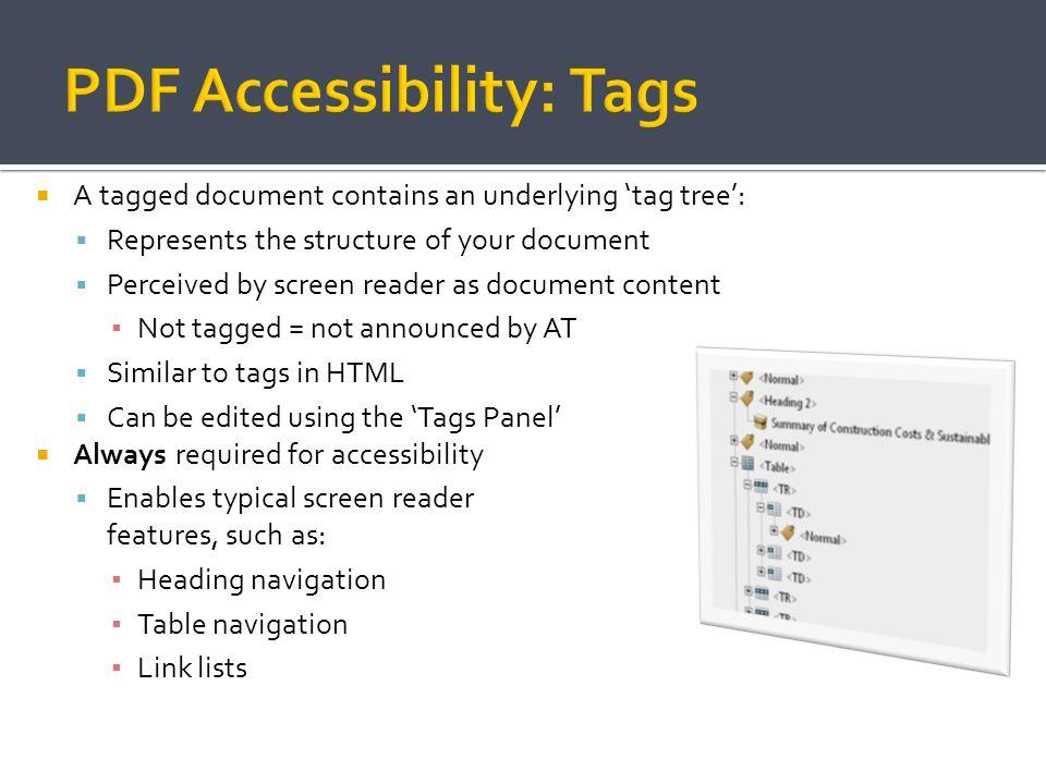 PDF Accessibility: Tags