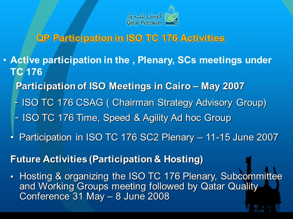 QP Participation in ISO TC 176 Activities