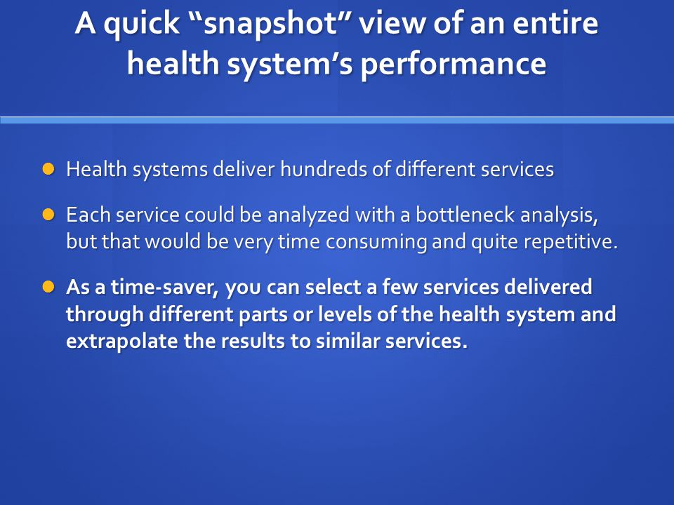 A quick snapshot view of an entire health system's performance