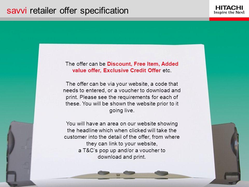 savvi retailer offer specification