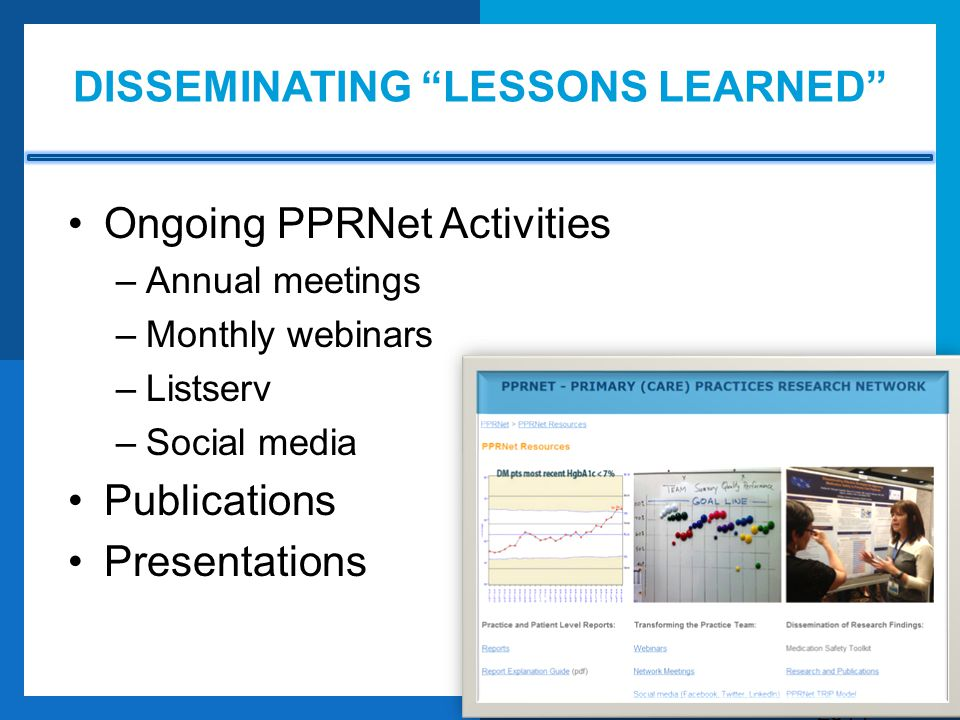 Disseminating lessons learned