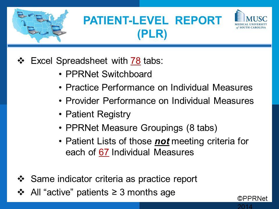 Patient-Level Report (PLR)