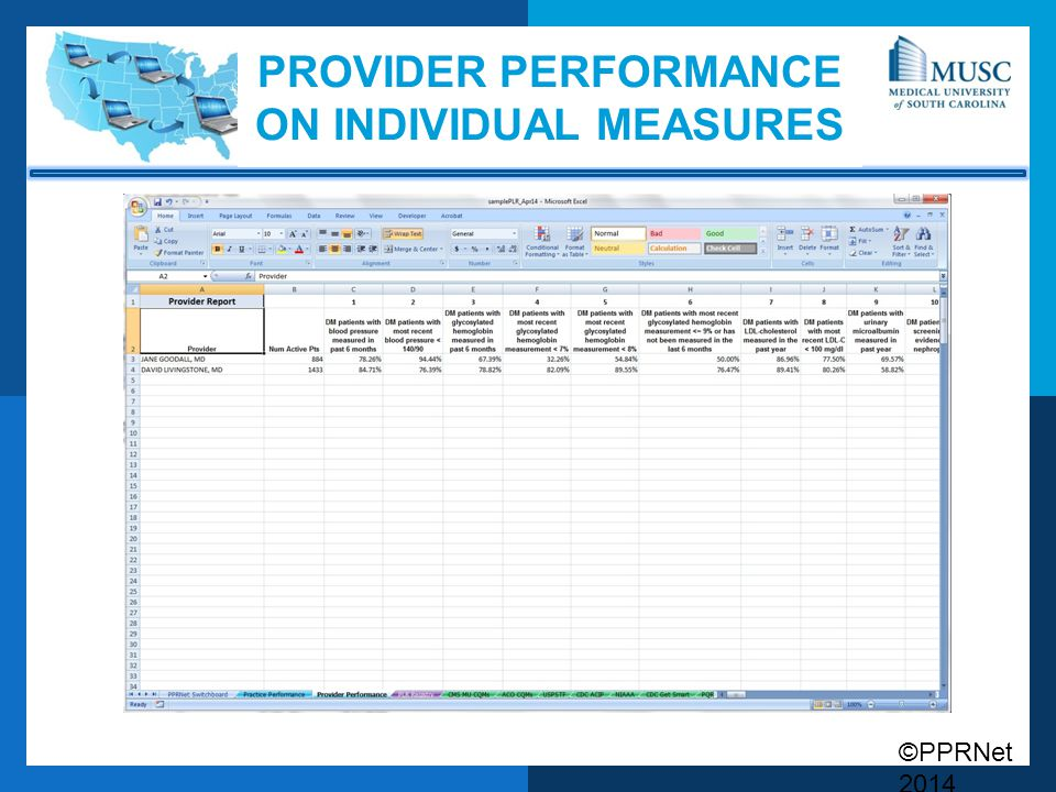Provider Performance on Individual Measures