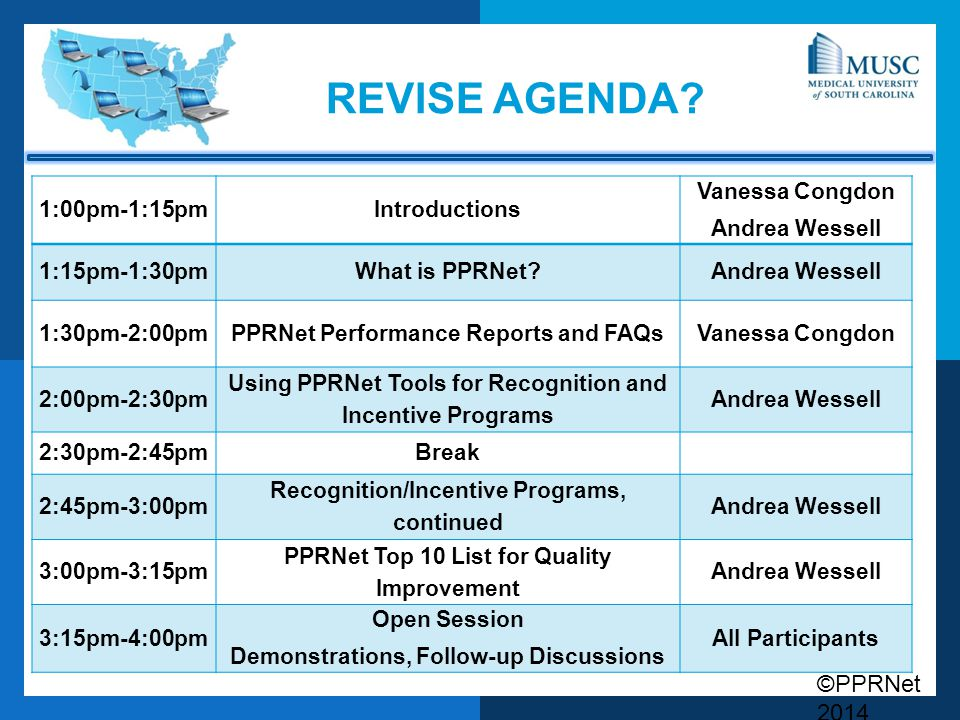 Revise agenda 1:00pm-1:15pm Introductions Vanessa Congdon