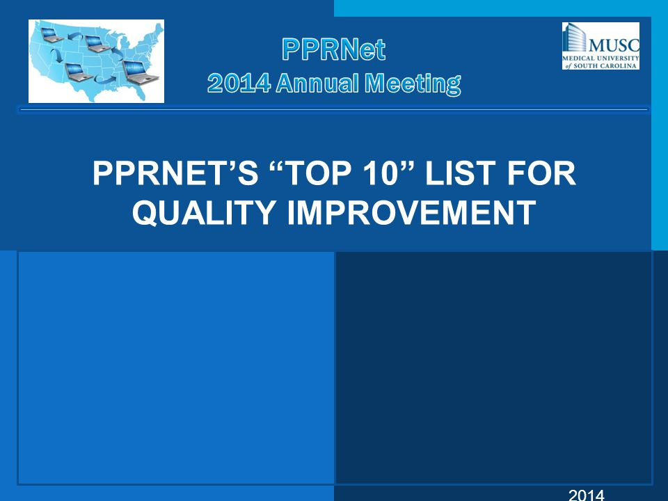 PPRNet's Top 10 List for Quality Improvement