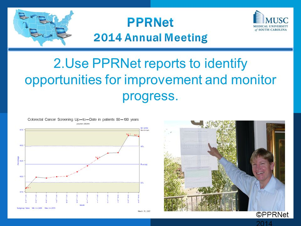 2.Use PPRNet reports to identify opportunities for improvement and monitor progress.