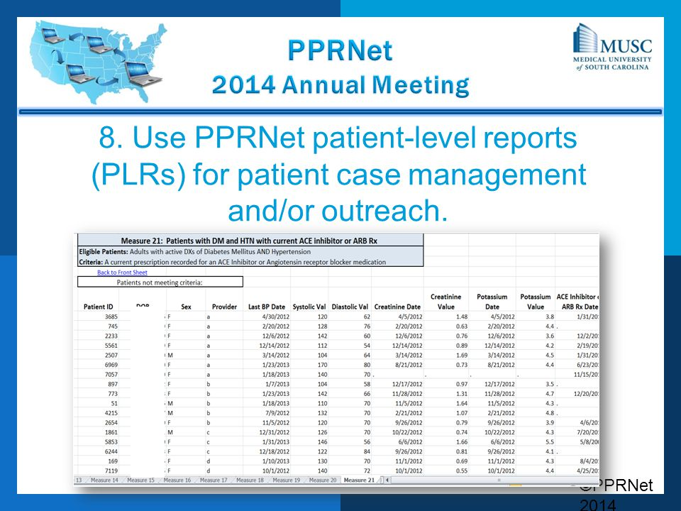 8. Use PPRNet patient-level reports (PLRs) for patient case management and/or outreach.