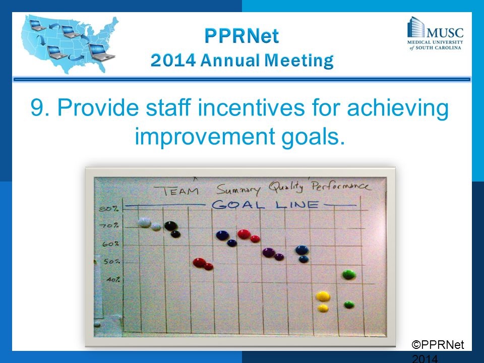 9. Provide staff incentives for achieving improvement goals.