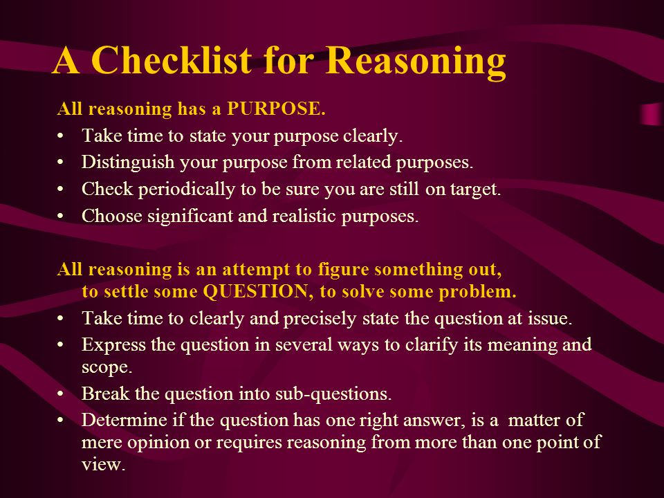 A Checklist for Reasoning