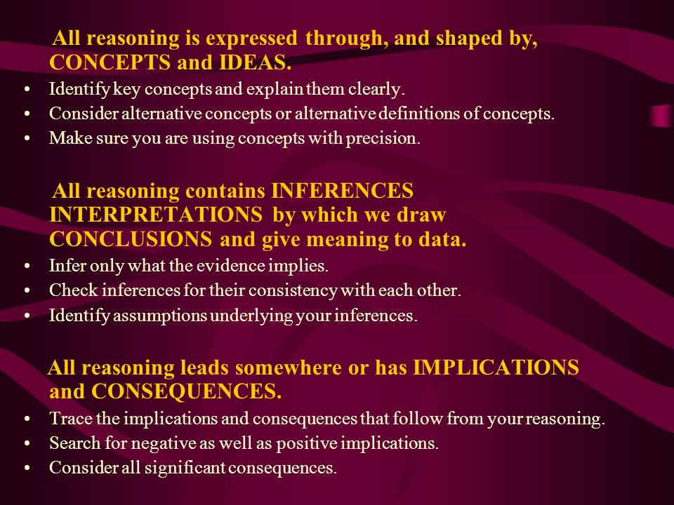 All reasoning is expressed through, and shaped by, CONCEPTS and IDEAS.