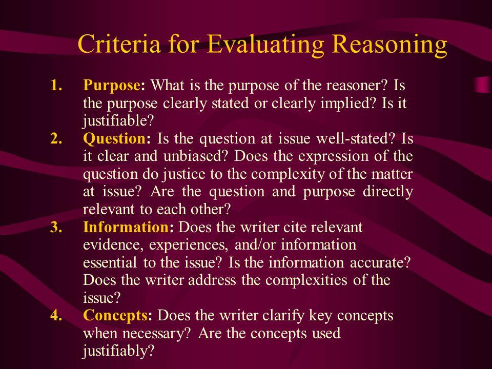 Criteria for Evaluating Reasoning