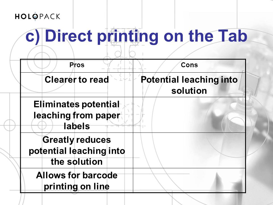 c) Direct printing on the Tab
