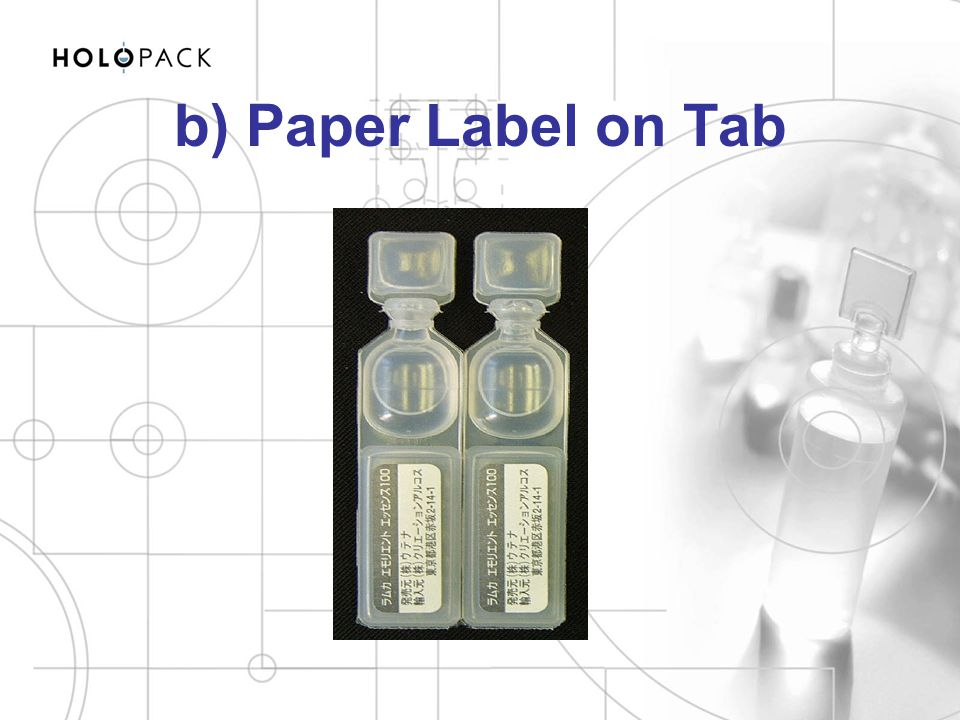 b) Paper Label on Tab