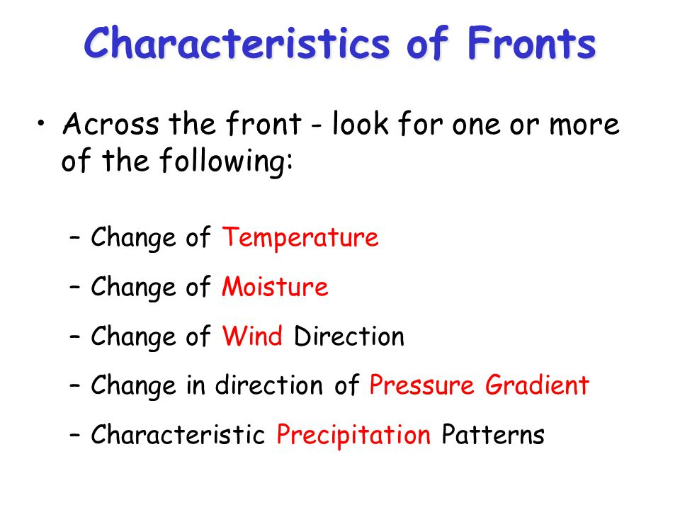 Characteristics of Fronts