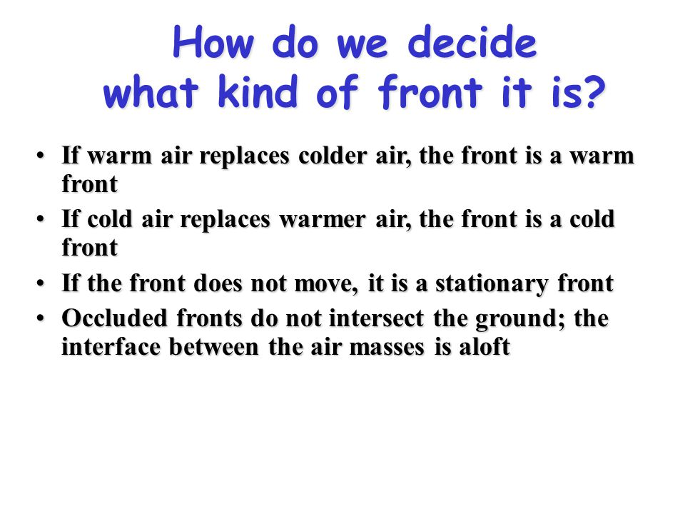 How do we decide what kind of front it is
