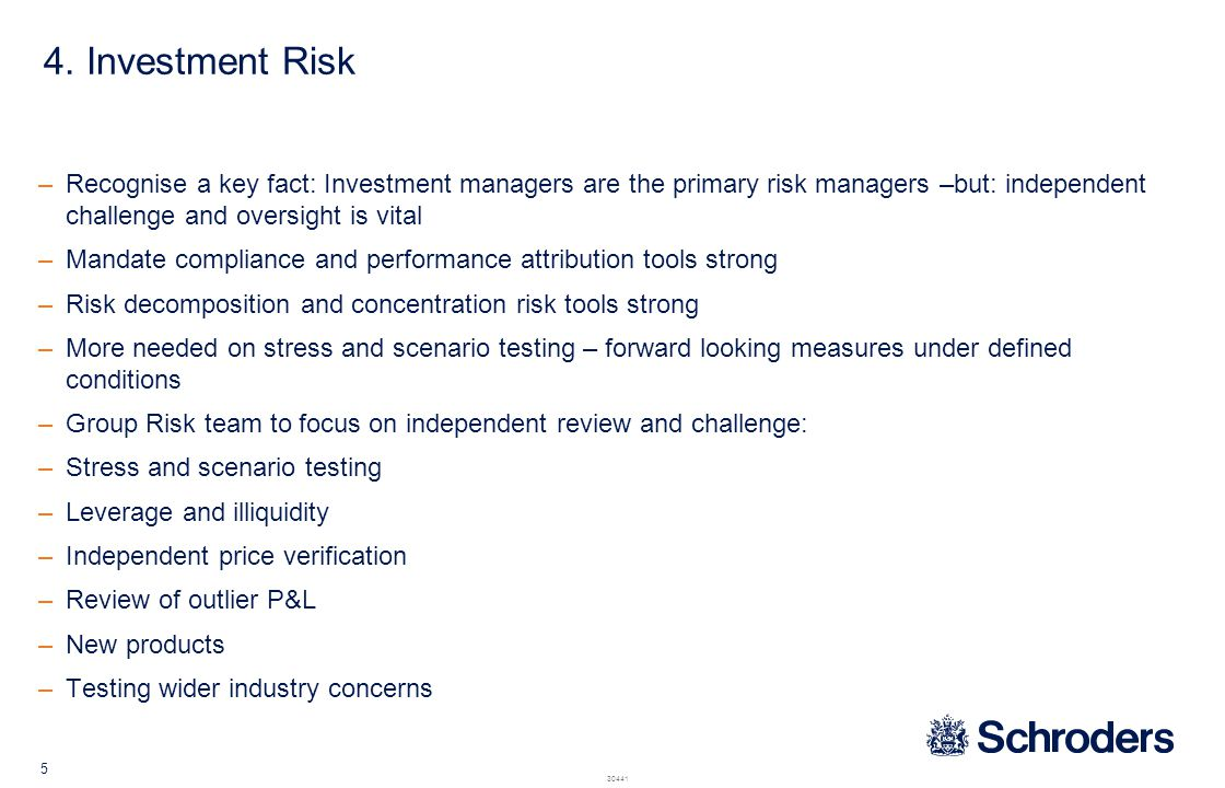 5. Operational Risk Historical issue: Comprehensive processes but little value added. Divorced from the business.