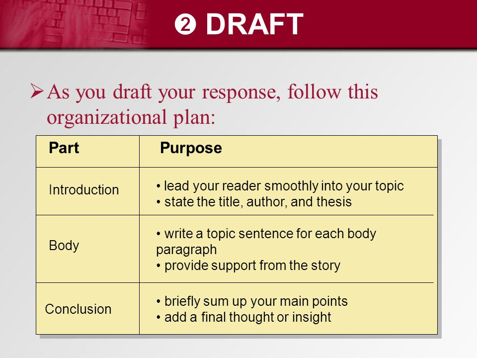 ➋ DRAFT As you draft your response, follow this organizational plan:
