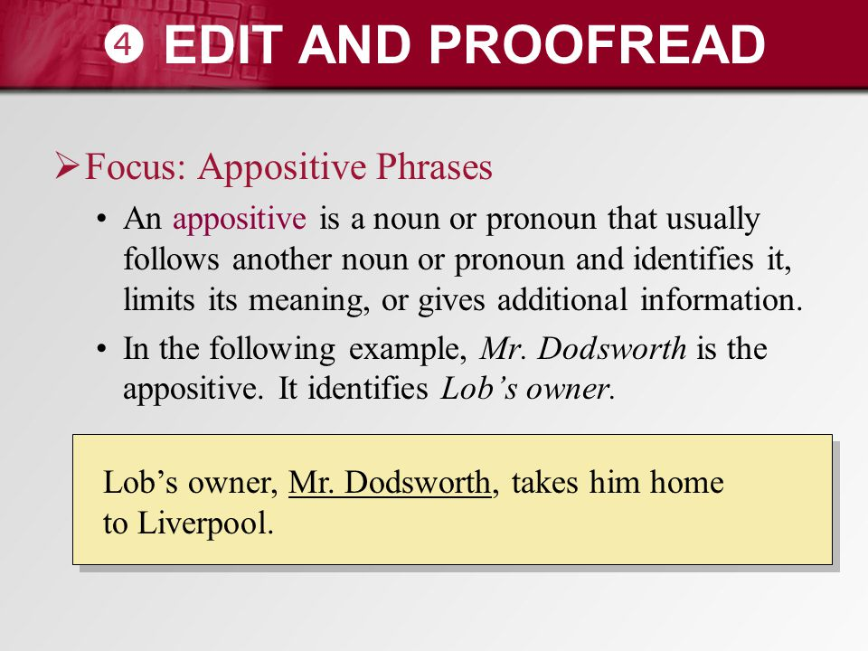  EDIT AND PROOFREAD Focus: Appositive Phrases