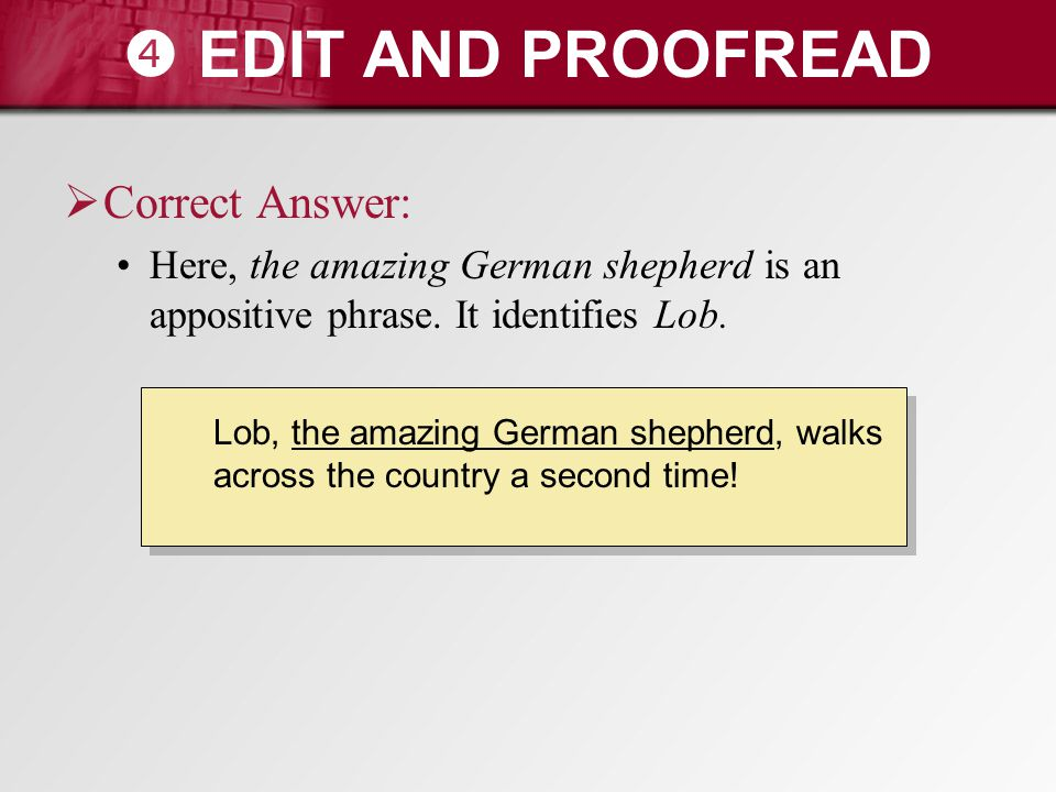  EDIT AND PROOFREAD Correct Answer: