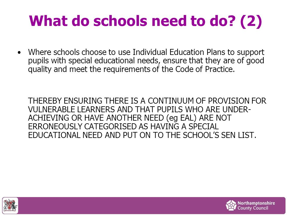 What do schools need to do (2)