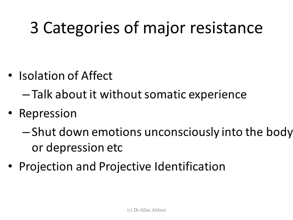 3 Categories of major resistance