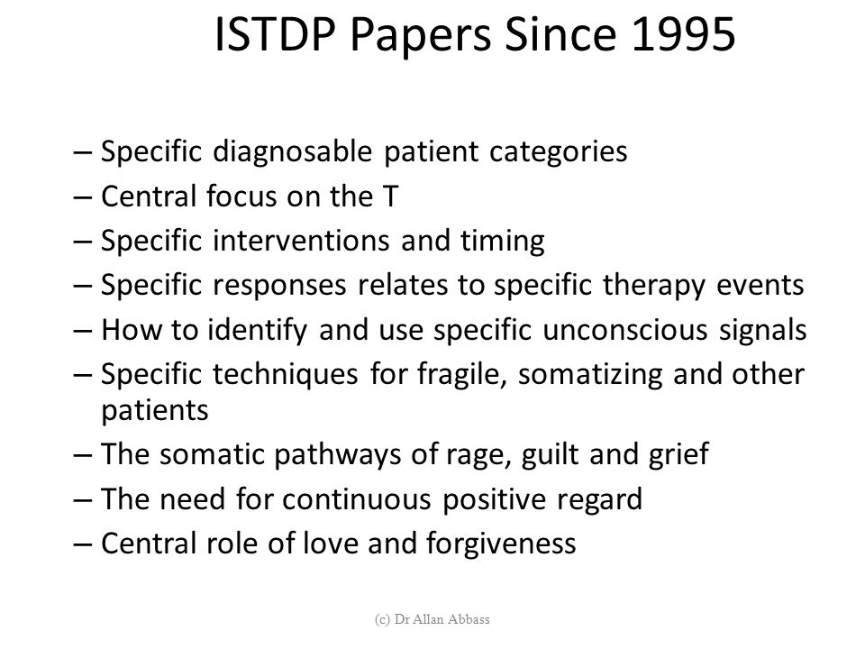 ISTDP Papers Since 1995 Specific diagnosable patient categories