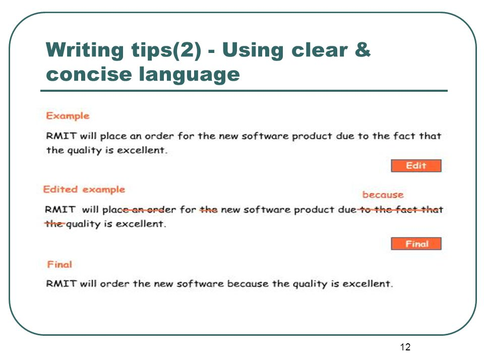 Writing tips(2) - Using clear & concise language