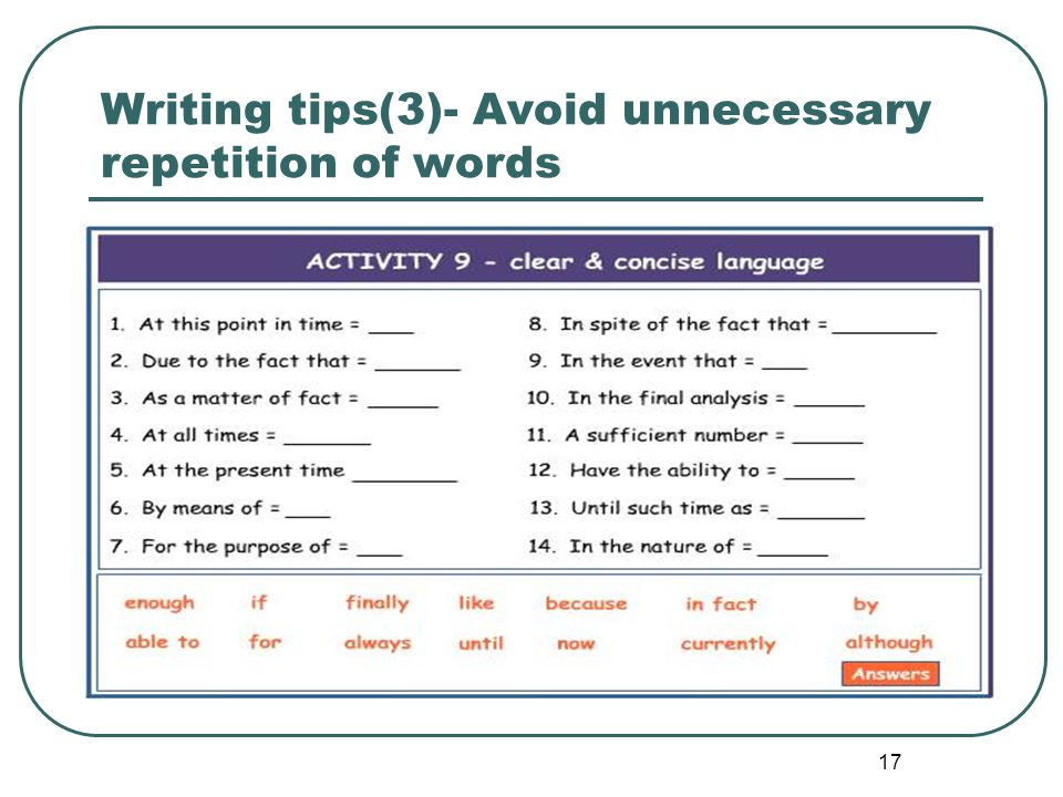 Writing tips(3)- Avoid unnecessary repetition of words