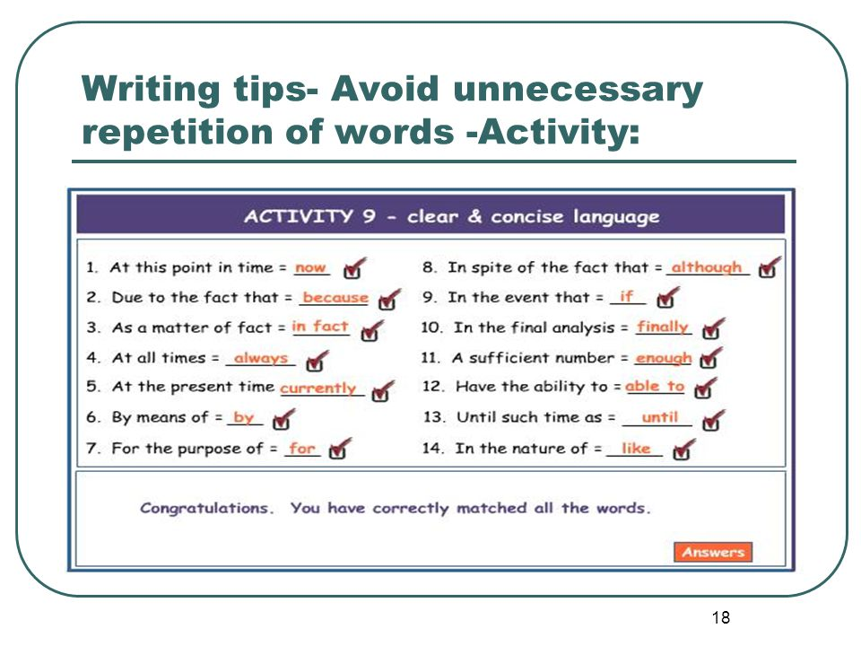 Writing tips- Avoid unnecessary repetition of words -Activity: