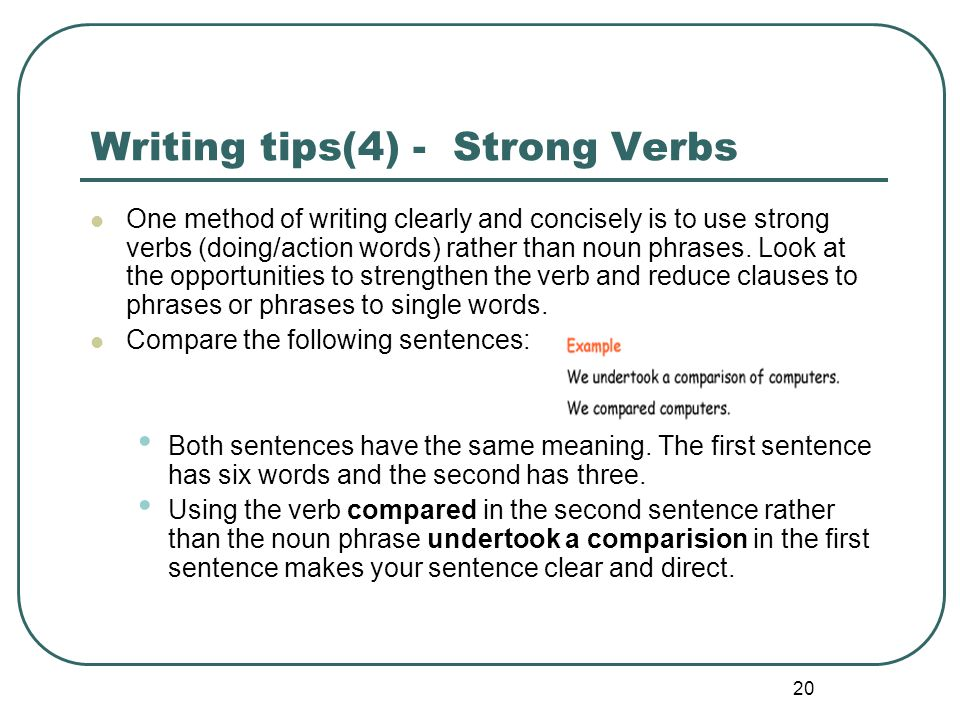 Writing tips(4) - Strong Verbs