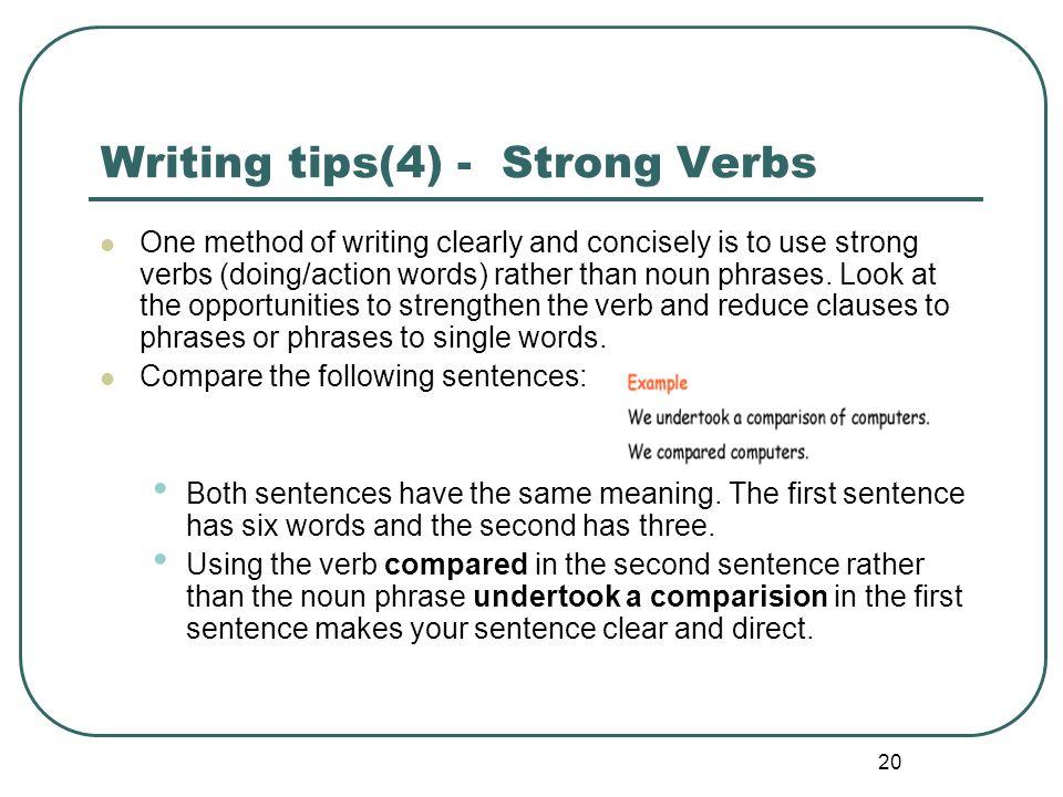 Writing tips(4) - Strong Verbs
