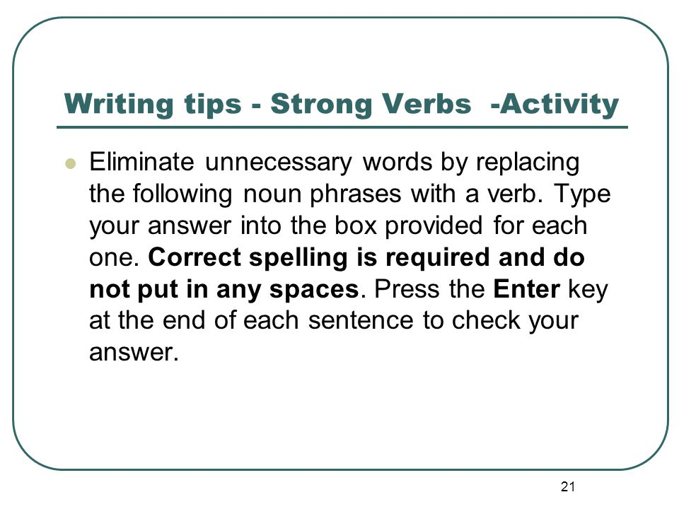 Writing tips - Strong Verbs -Activity