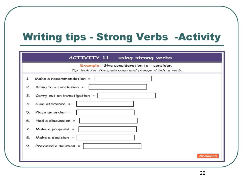 Writing tips - Strong Verbs -Activity