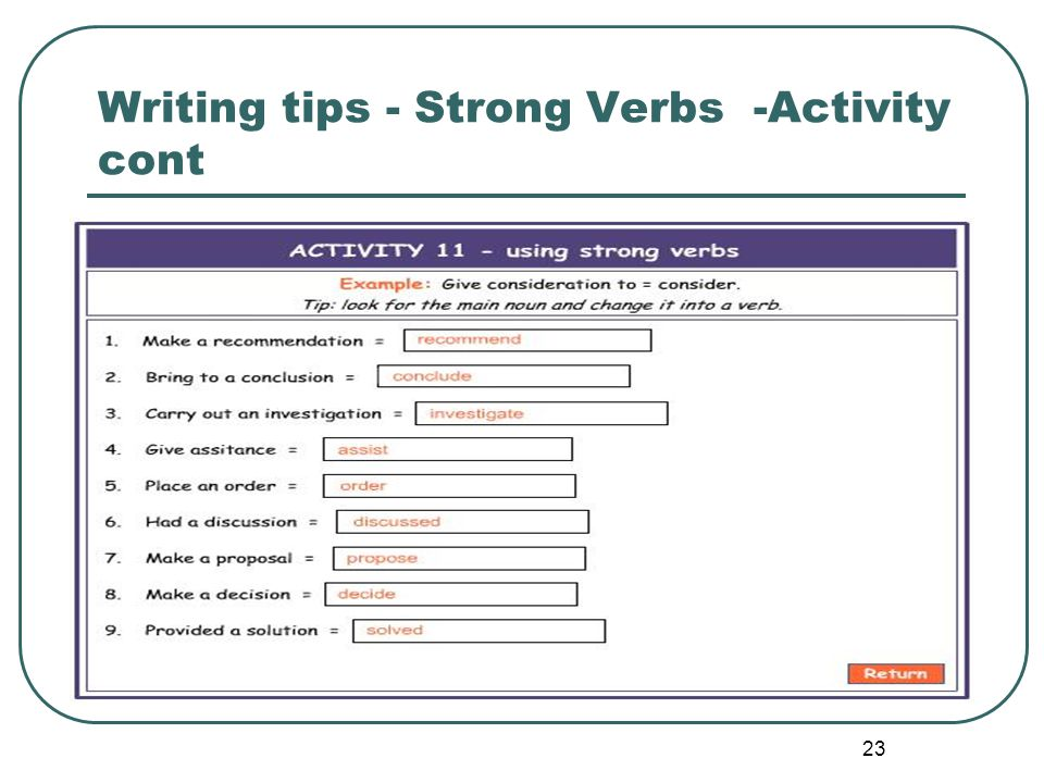 Writing tips - Strong Verbs -Activity cont