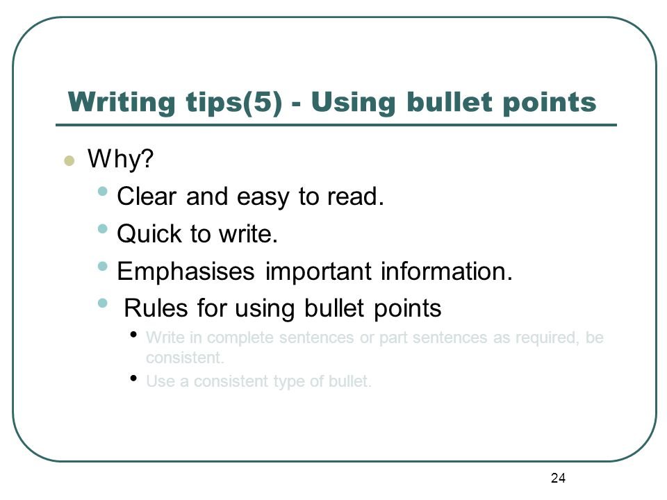Writing tips(5) - Using bullet points