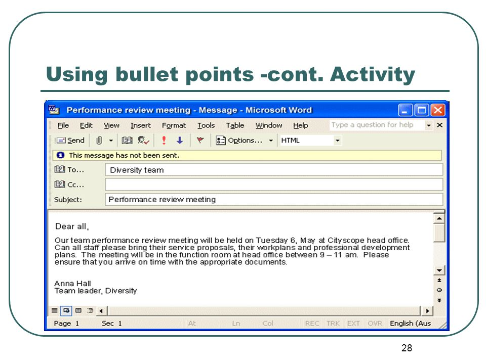 Using bullet points -cont. Activity