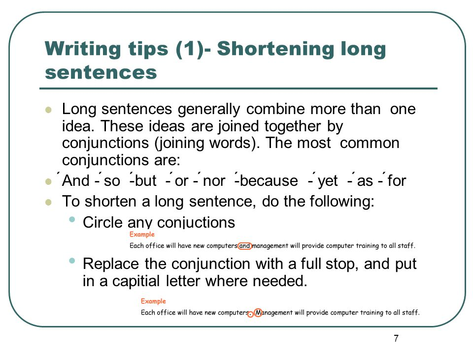 Writing tips (1)- Shortening long sentences