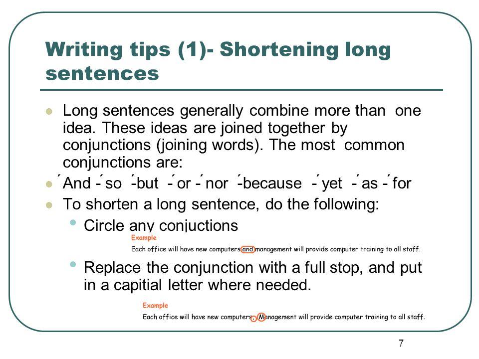 Writing tips (1)- Shortening long sentences