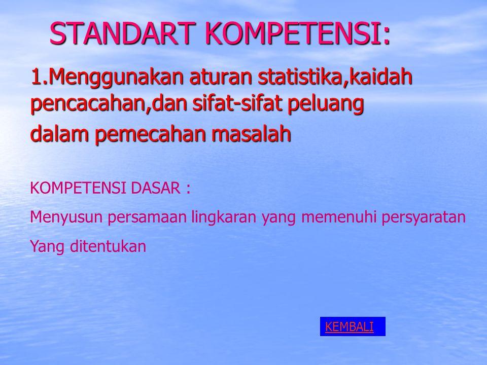 STANDART KOMPETENSI: 1.Menggunakan aturan statistika,kaidah pencacahan,dan sifat-sifat peluang. dalam pemecahan masalah.